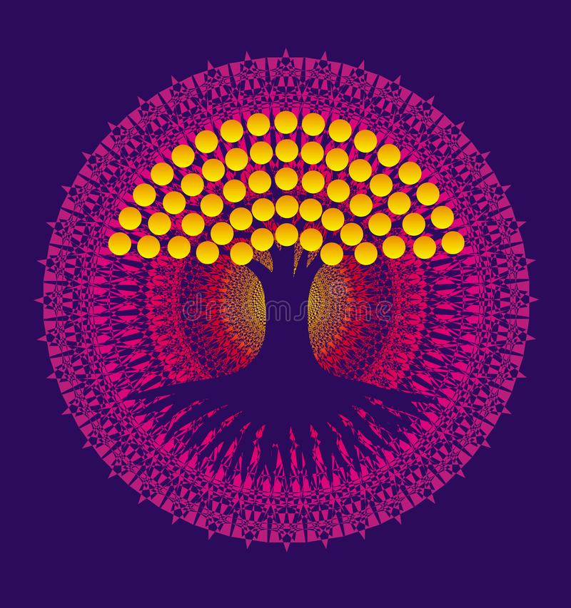 Boom van het leven op een achtergrond van een purpere mandala met gele bladeren Vector stock illustratie