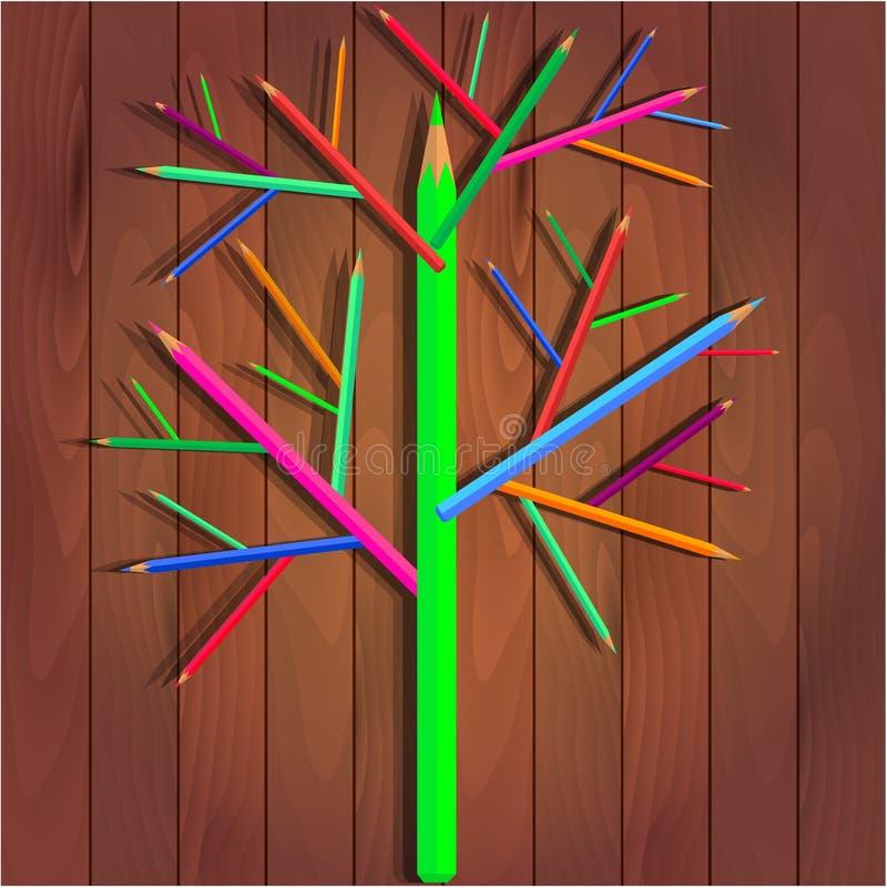 Boom van kleurenpotloden stock illustratie
