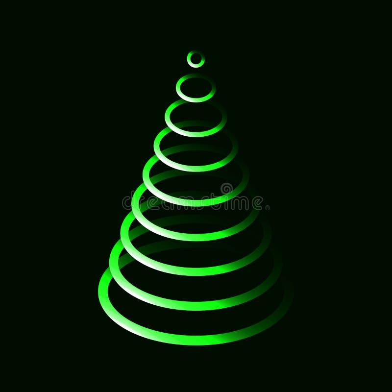 Boom van neon de glanzende groene ovale Kerstmis royalty-vrije illustratie