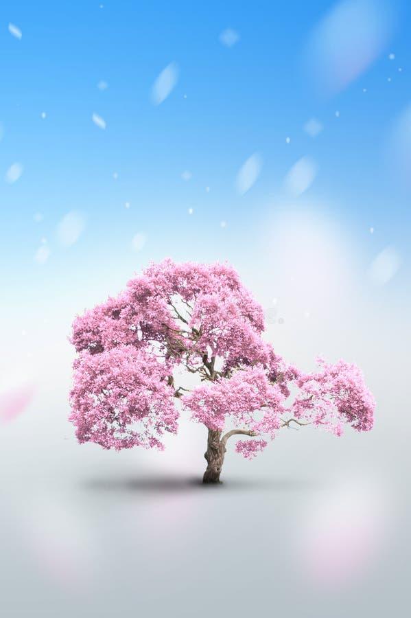 Boom van roze kleur stock illustratie