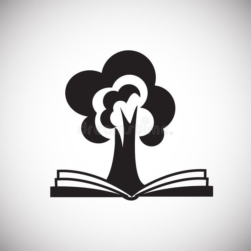 Boom van wijsheid op boek op witte achtergrond vector illustratie
