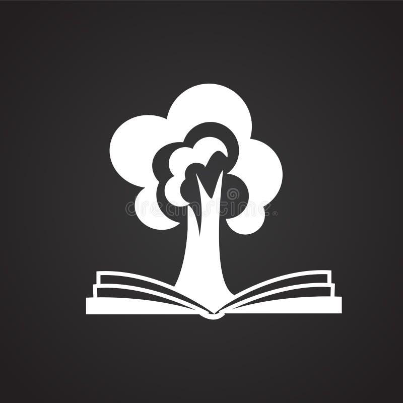 Boom van wijsheid op boek op zwarte achtergrond vector illustratie