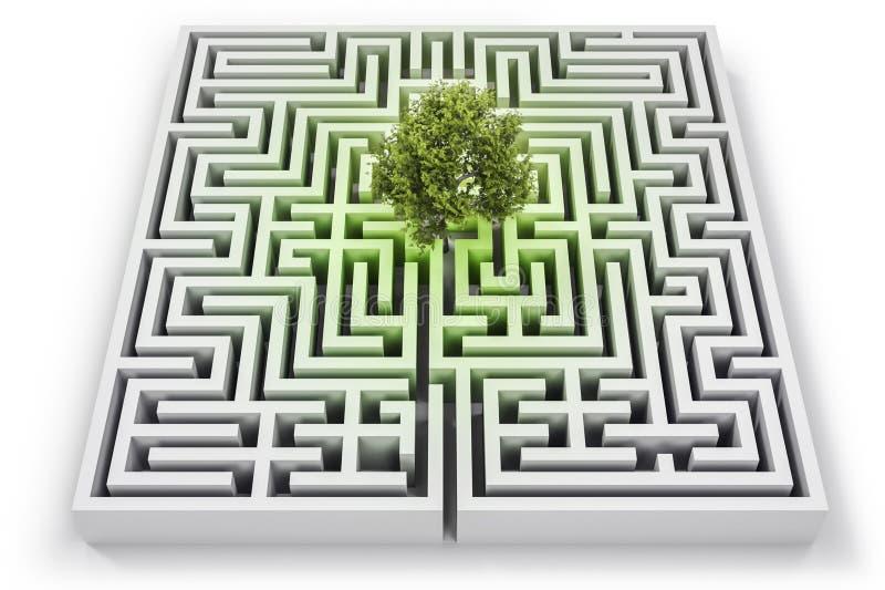 Boom in verloren in labyrint stock illustratie