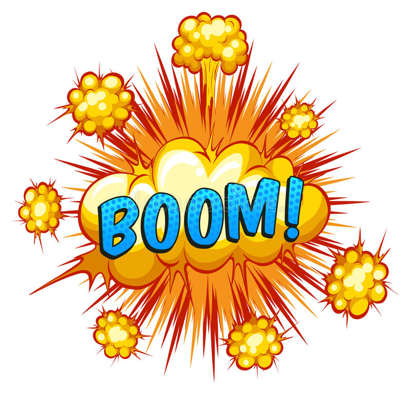 Boom. Word Boom with cloud explosion in the back royalty free illustration
