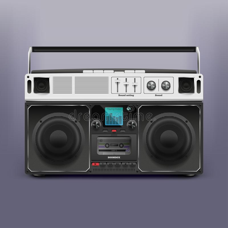 Boombox för materielvektorillustration Bandspelare Skivspelare Retro Rastafarian, reggae 10 eps vektor illustrationer
