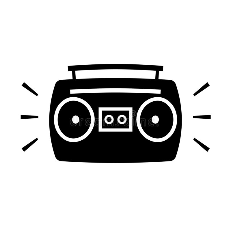 Boombox ghetto blaster cartoon silhouette icon. Clipart image isolated on white background stock illustration