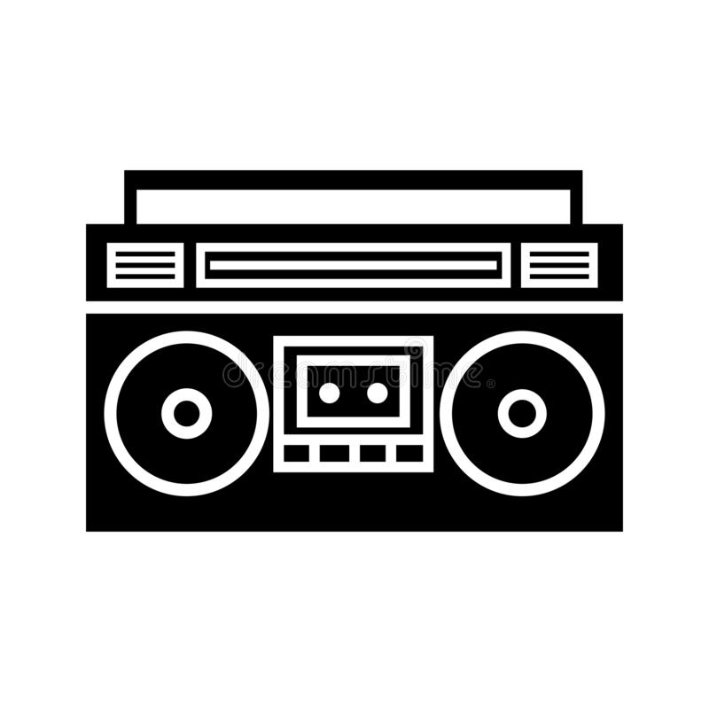 Boombox ghetto blaster silhouette icon. Clipart image isolated on white background stock illustration