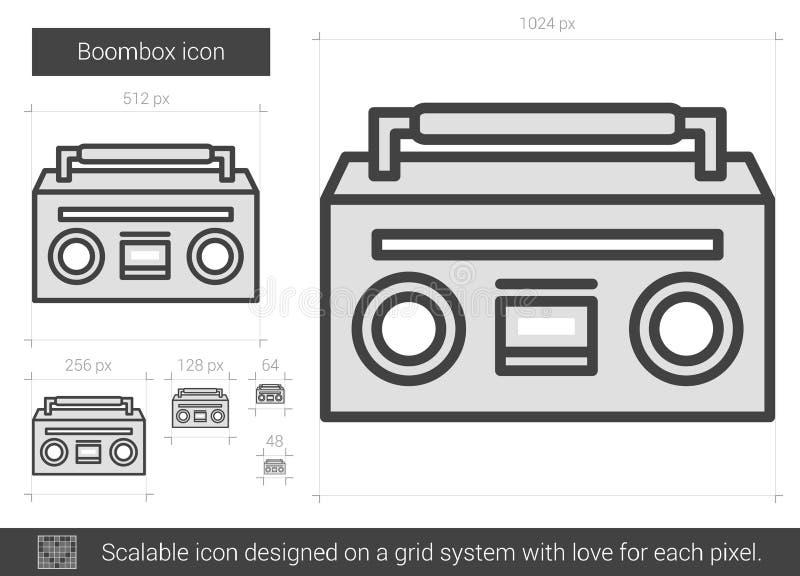 Boombox linje symbol stock illustrationer
