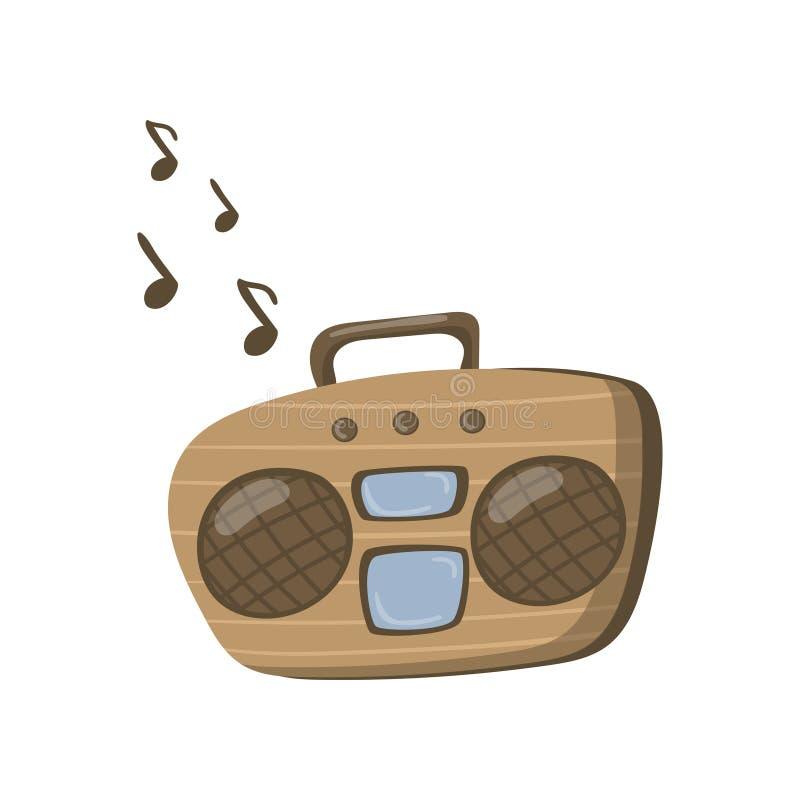 Boombox ou ilustração de rádio do vetor dos desenhos animados do jogador da cassete de banda magnética ilustração do vetor