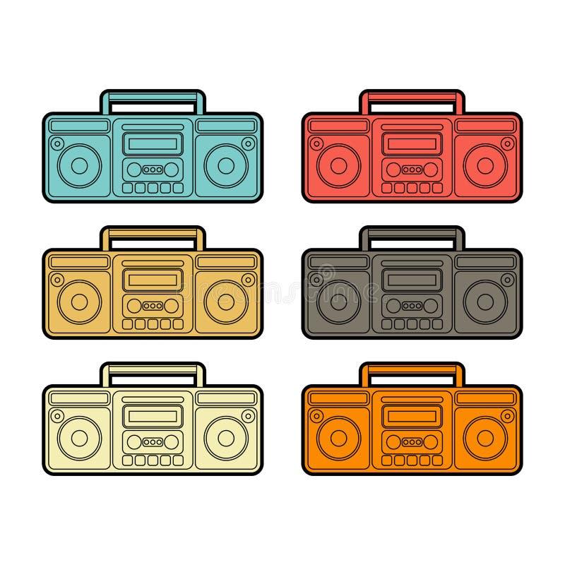 Boombox uppsättning Retro registreringsapparatkassettband vektor stock illustrationer