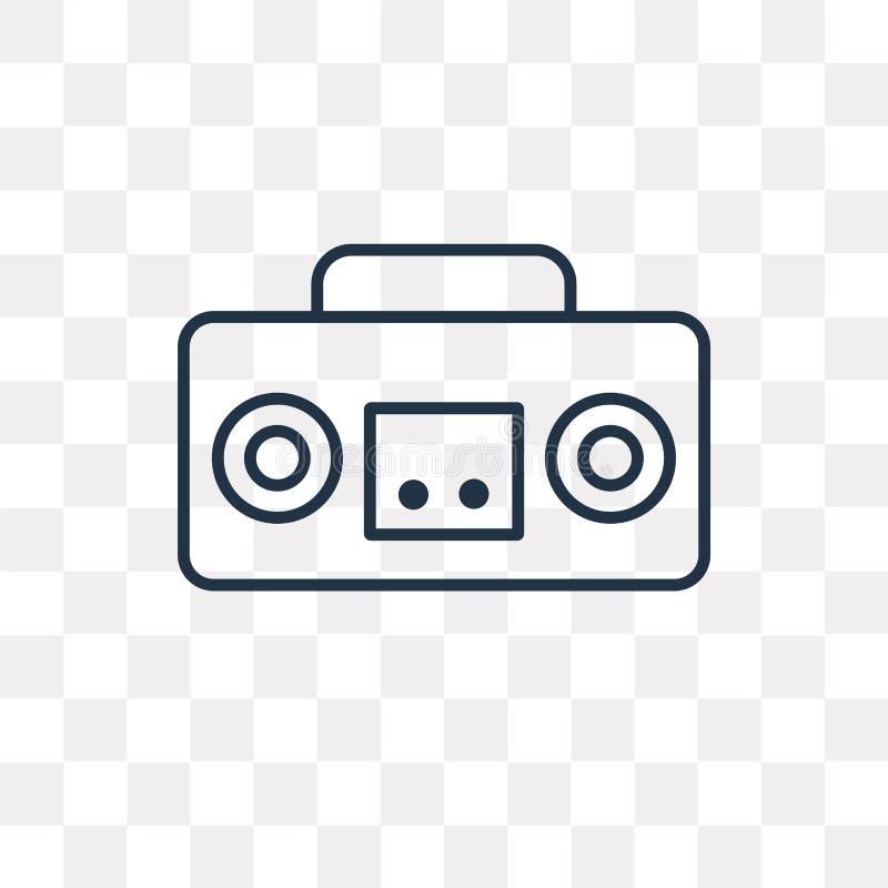 Boombox wektorowa ikona odizolowywająca na przejrzystym tle, liniowy b royalty ilustracja