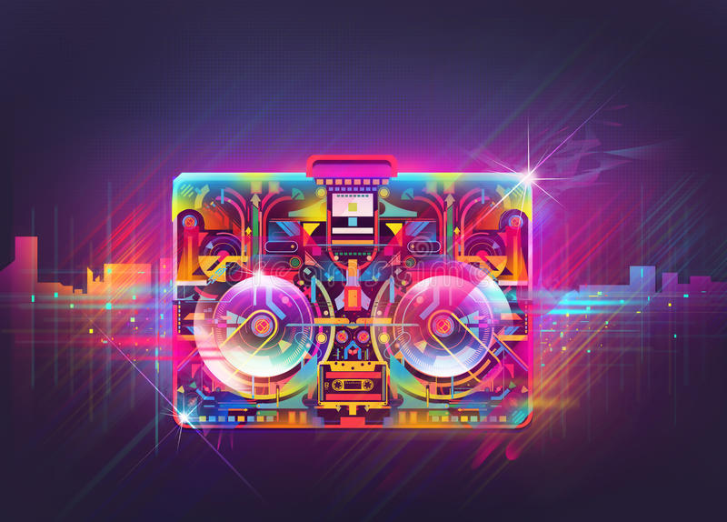 boomboxillustration vektor illustrationer