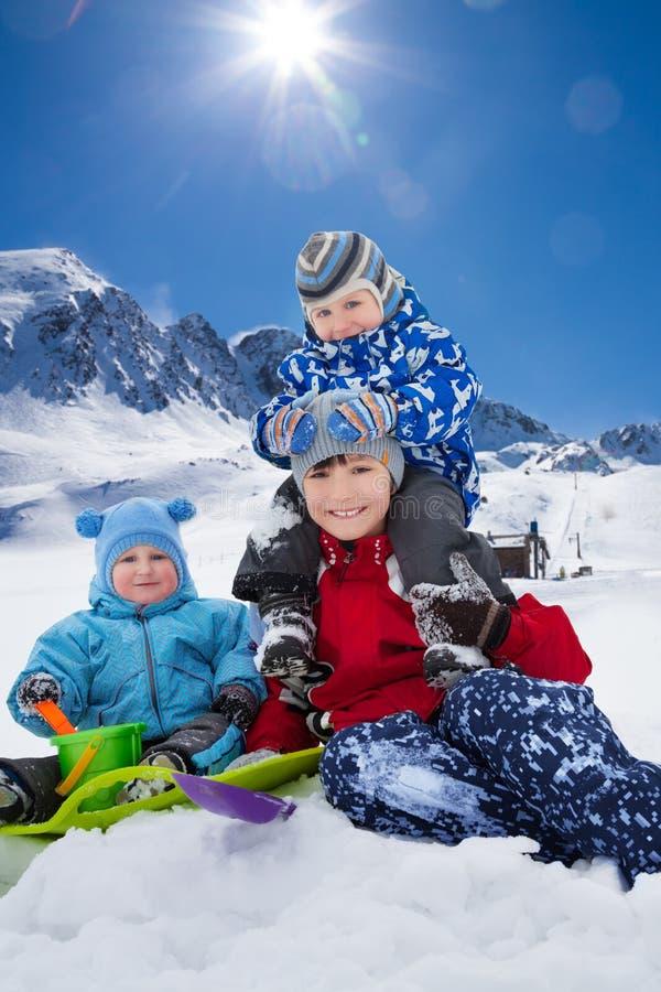 Boombroers op de winterdag royalty-vrije stock afbeelding