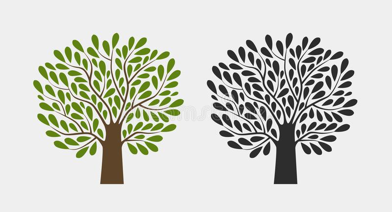 Boomembleem of symbool Aard, tuin, ecologie, milieupictogram Vector illustratie vector illustratie