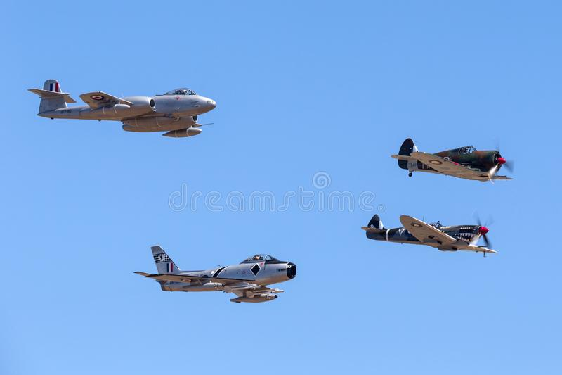 Boomerang di Former Australian Air Force RAAF Commonwealth Aircraft Corporation Reali CA-13 che conduce le spitfire di Supermarin fotografie stock libere da diritti