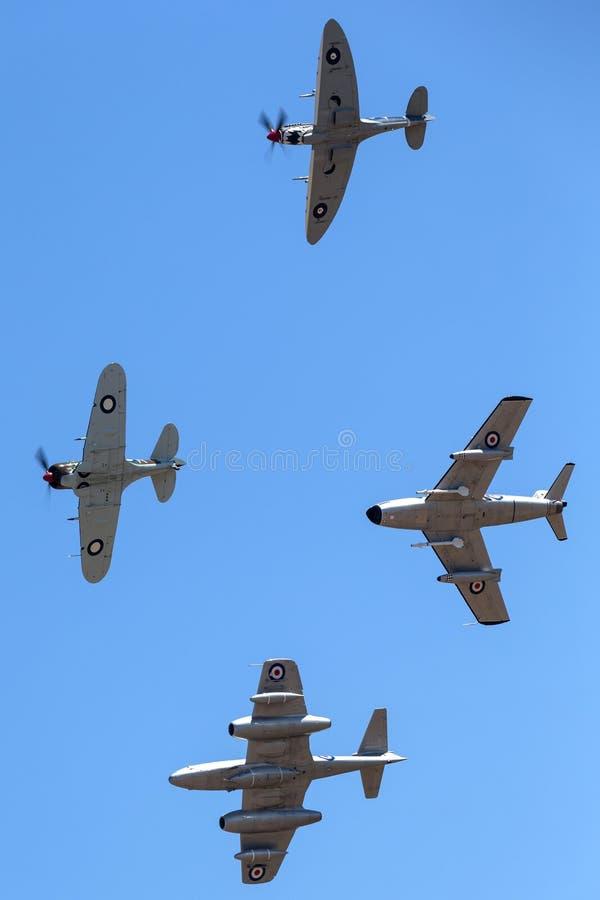 Boomerang di Former Australian Air Force RAAF Commonwealth Aircraft Corporation Reali CA-13 che conduce le spitfire di Supermarin immagine stock libera da diritti