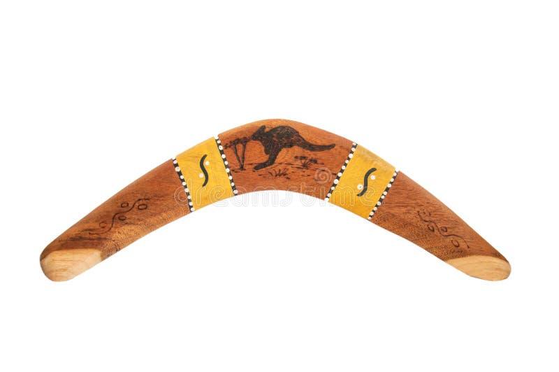 Boomerang en bois indig?ne d'isolement photo libre de droits