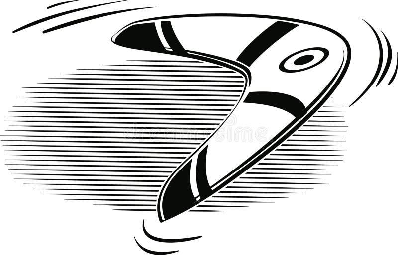 Boomerang jeté dans l'air illustration de vecteur