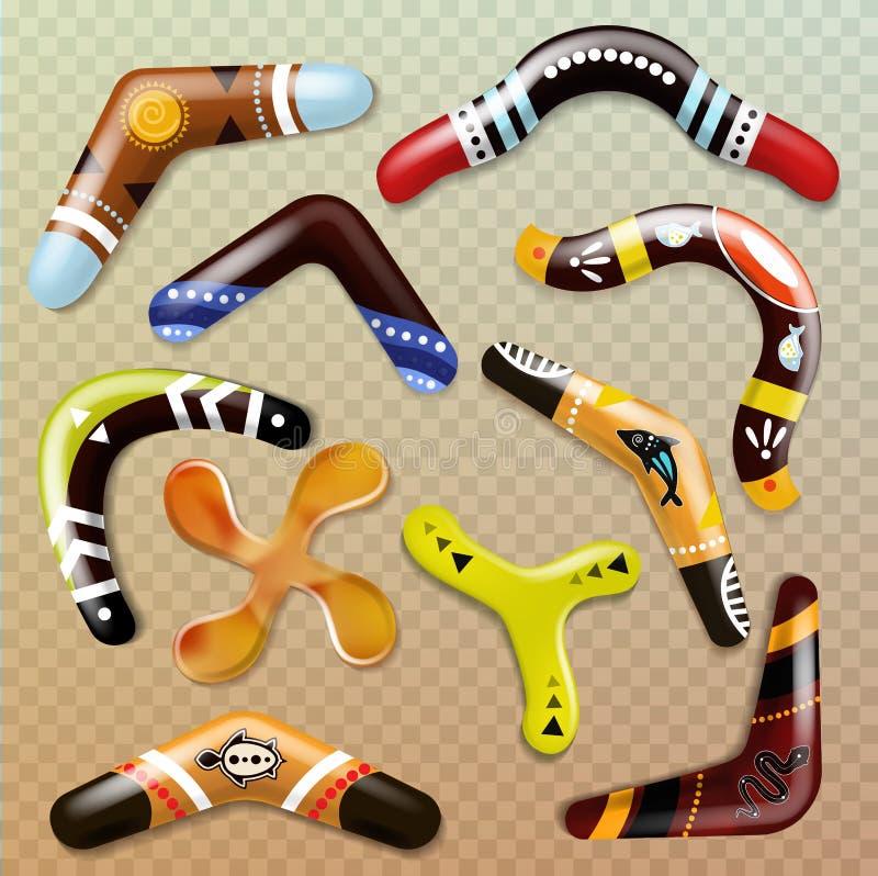 Boomerang o brinquedo de jogo aborígene do esporte da lembrança da arma e do australiano do vetor no grupo da ilustração de Austr ilustração royalty free