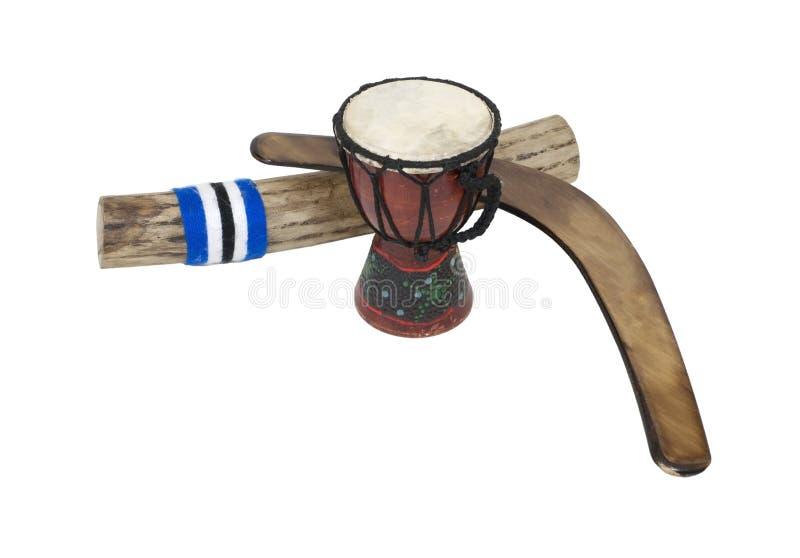 Boomerang, Trommel und Rainstick lizenzfreies stockfoto