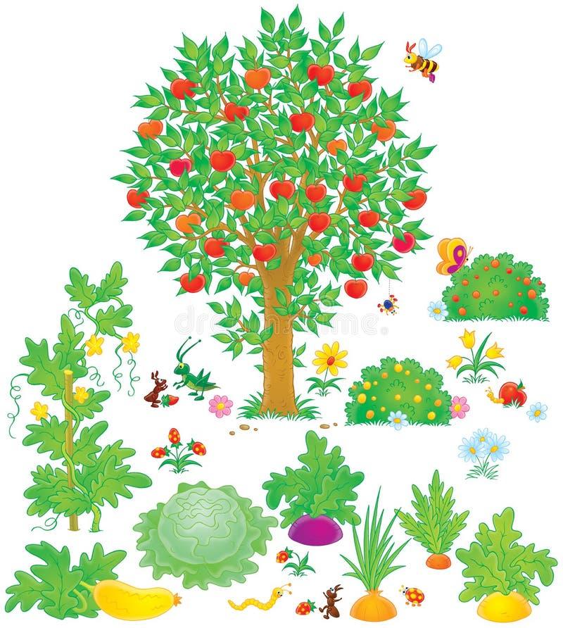 Boomgaard en moestuin stock illustratie