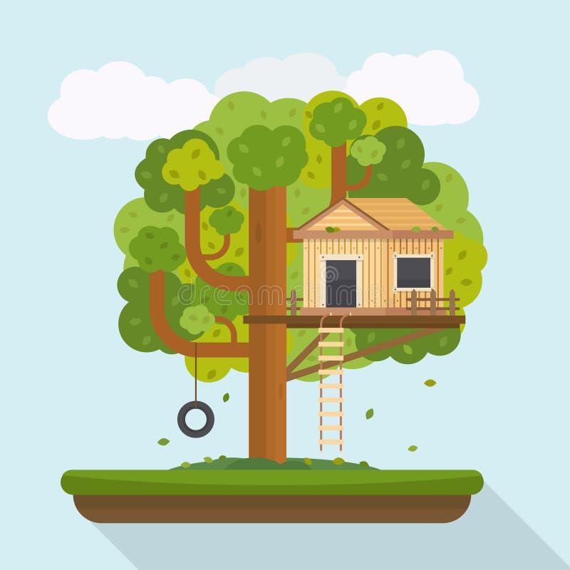 Boomhuis Huis op boom voor jonge geitjes royalty-vrije illustratie