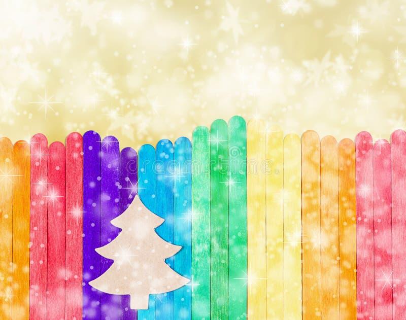 Boomkerstmis op kleurrijk hout stock fotografie