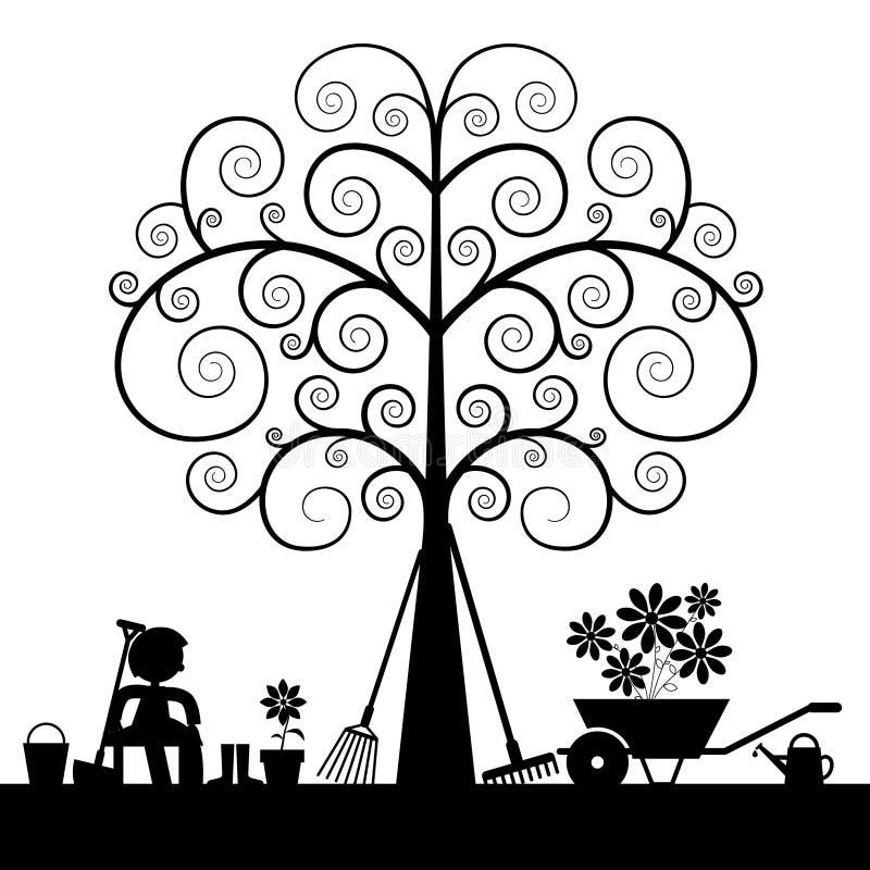 Boomsilhouet met het Tuinieren Hulpmiddelen vector illustratie