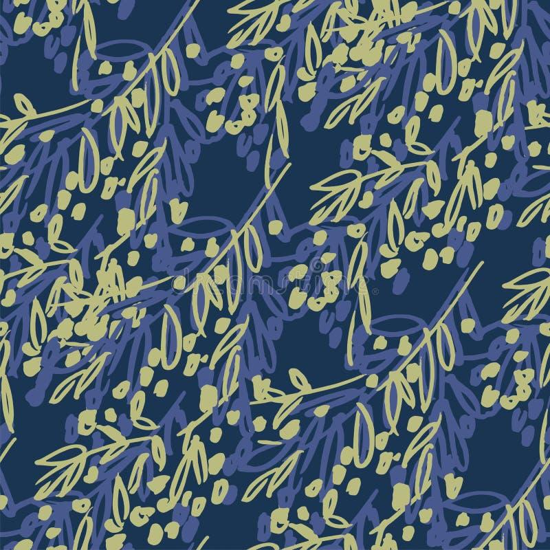 Boomtakjes, takken vector naadloos patroon Olijfbessen die decoratieve botanische textuur bloeien Donkerblauwe getrokken geblader royalty-vrije illustratie