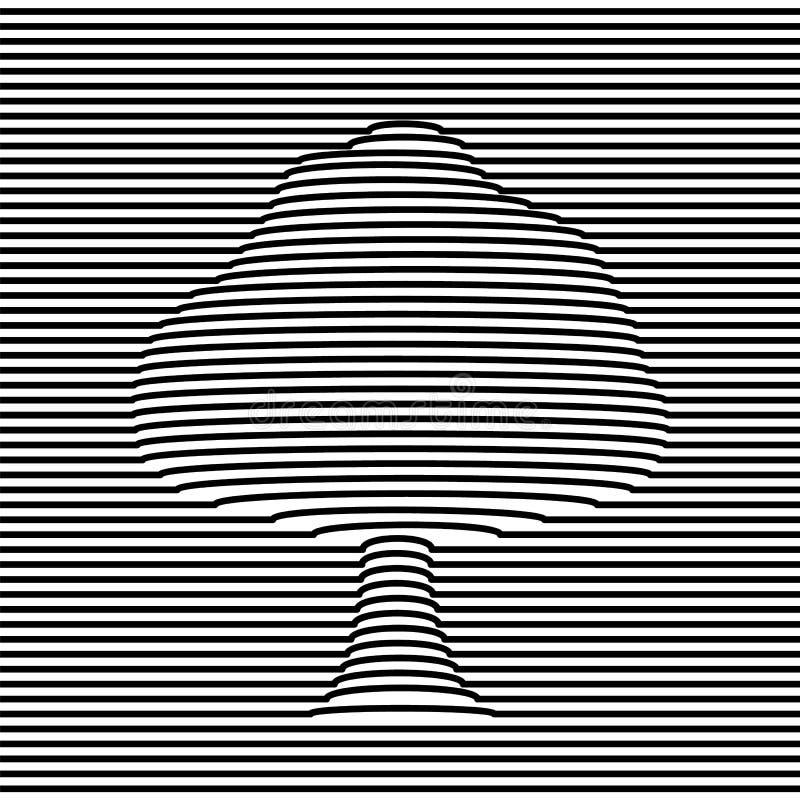 Boomvorm in 3d stijl van de volume optische illusie vector illustratie