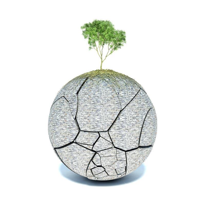 Boomwortels die de planeet behandelen royalty-vrije illustratie