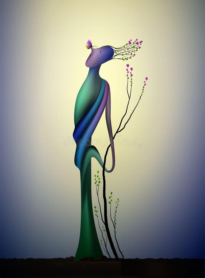 Boomziel in de de lentetijd, de boom van de mensenvorm in bloesem met vlinder, het pictogramconcept van de de lentedroom, surreal vector illustratie