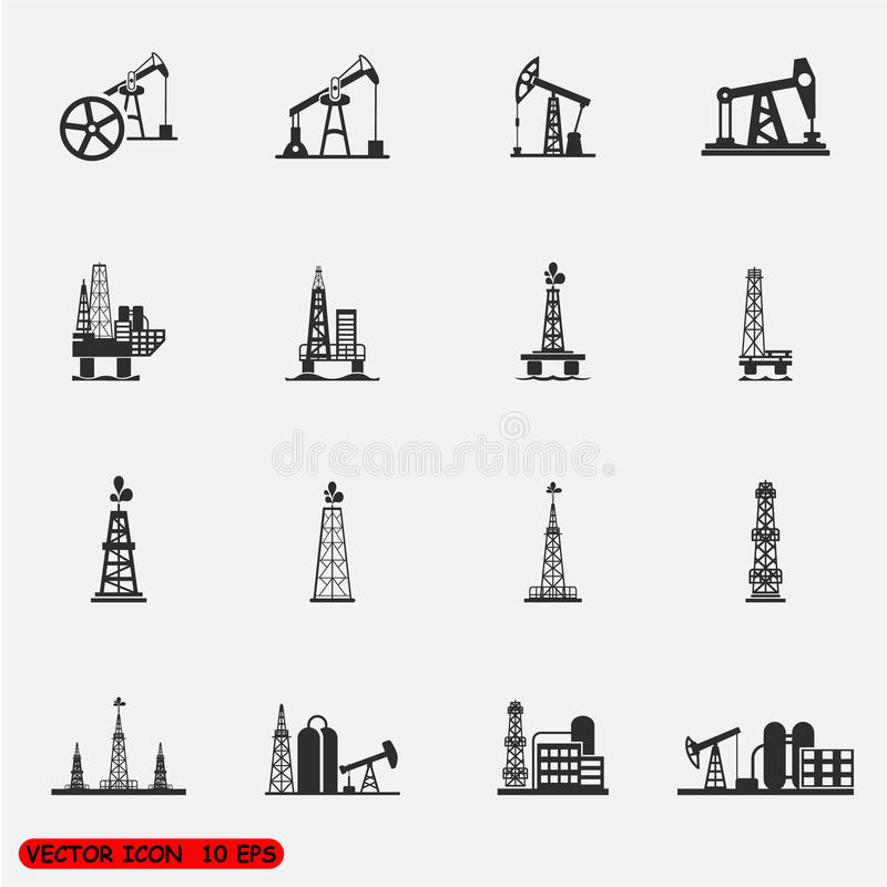 Booreiland, pomp en olie van het boringsplatform pictogrammenreeksen vector illustratie