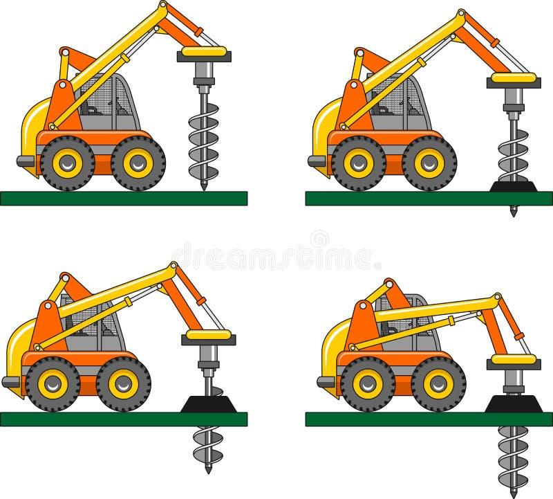 Boormateriaal Zware bouwmachines royalty-vrije illustratie