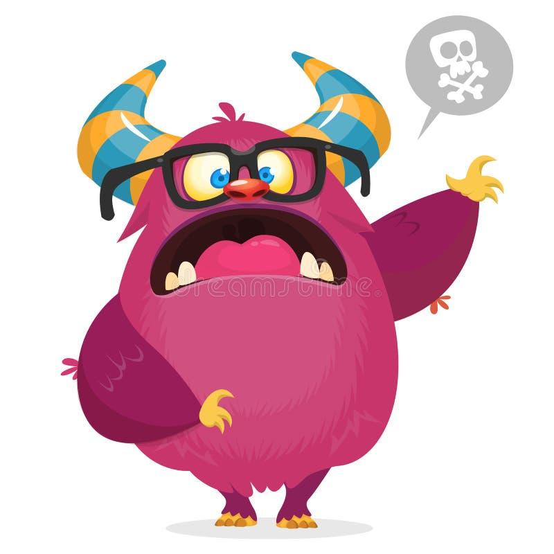 Boos beeldverhaalmonster met hoornen Grote inzameling van leuke monsters Halloween-karakter royalty-vrije illustratie