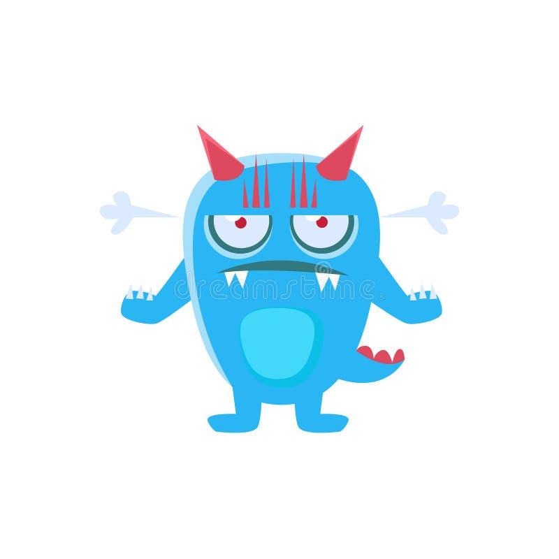 Boos Blauw Monster met Hoornen en Stekelige Staart vector illustratie