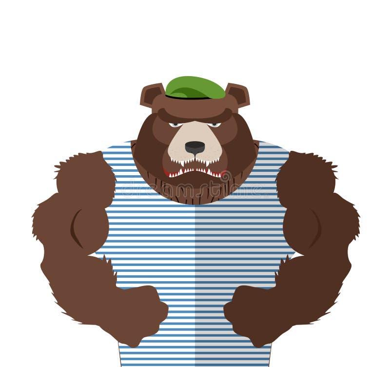 Boos draag in gestreept vest Rus dragen verdediger in groene ber vector illustratie