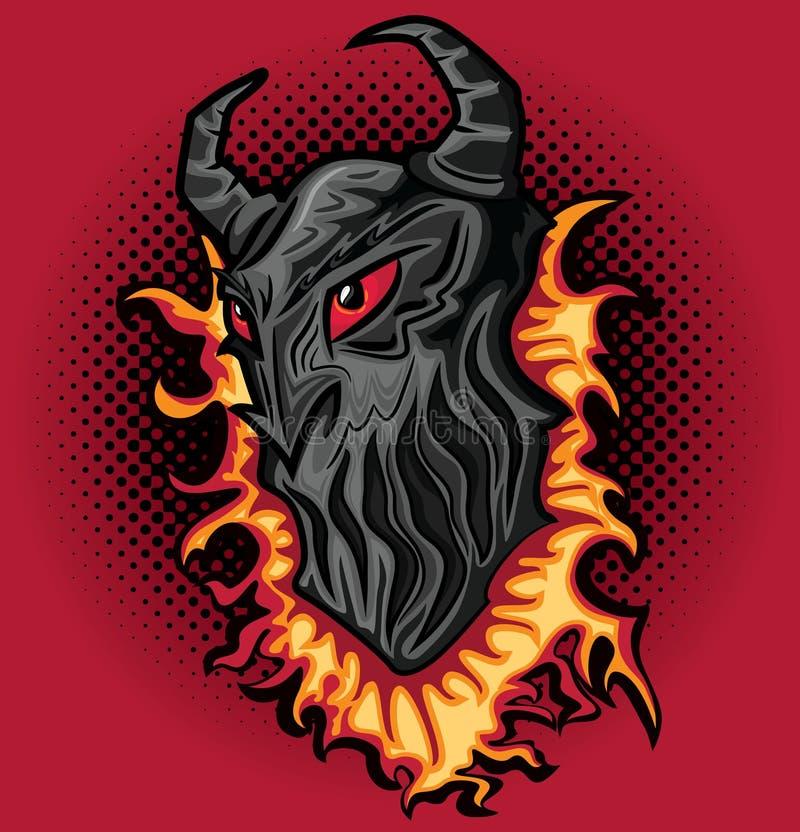 Boos eng de verschrikkingsgezicht van het duivelsdemon in vlammenillustratie stock illustratie