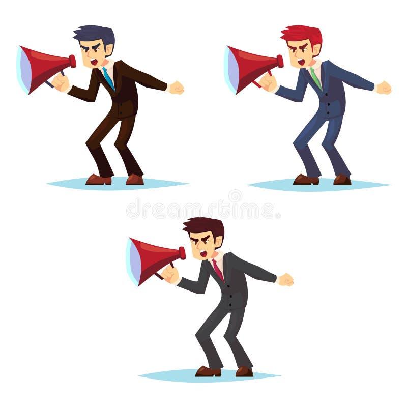 Boos jong zakenmankarakter die door luide spreker schreeuwen Beeldverhaalkarakter - reeks - leuke bedrijfsmensenbeambte royalty-vrije illustratie