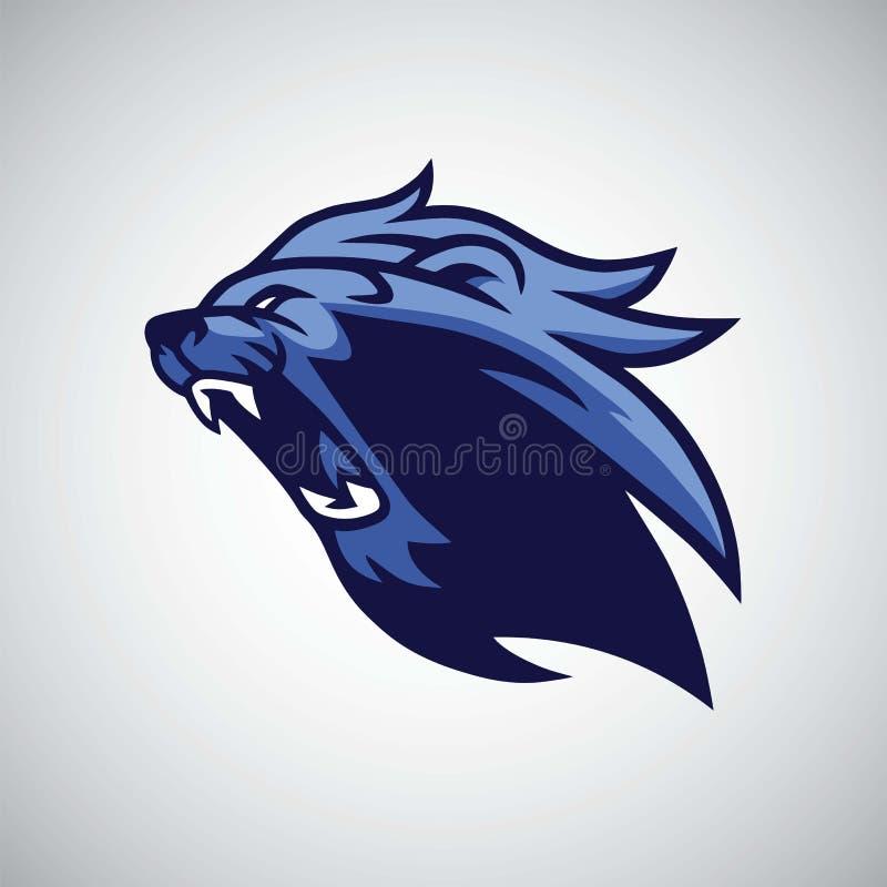 Boos Lion Blue Head Mascot royalty-vrije illustratie