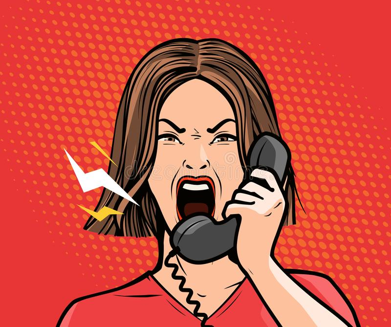 Boos meisje of jonge vrouw die in de telefoon gillen Pop-art retro grappige stijl De vectorillustratie van het beeldverhaal royalty-vrije illustratie