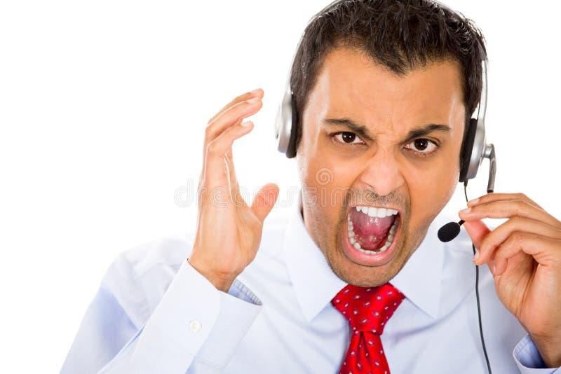 Boos rep van de klantendienst stock fotografie