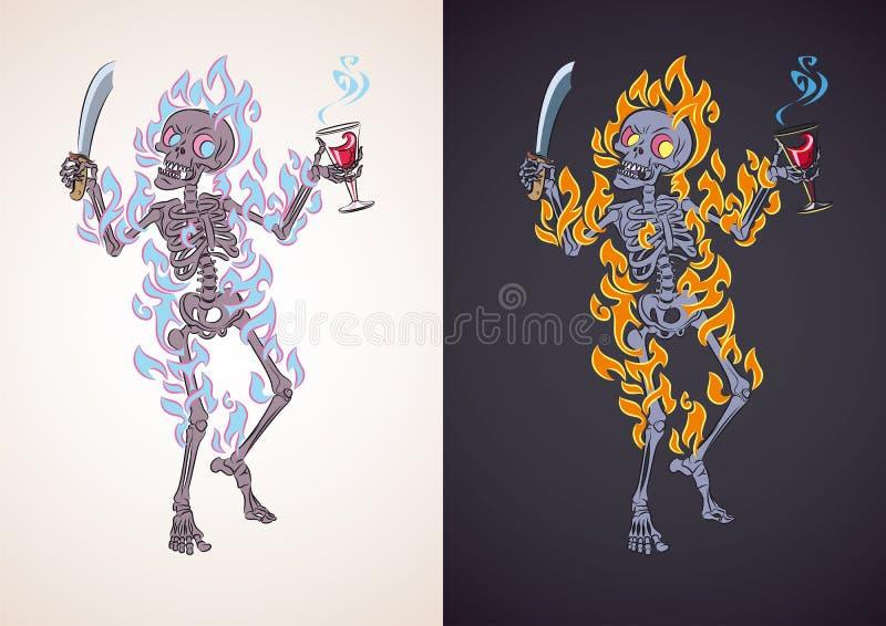 Boos skelet in brand vector illustratie