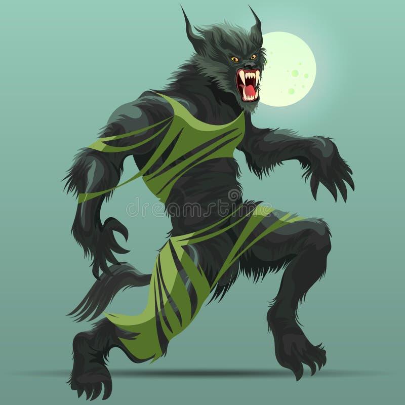 Boos weerwolfmonster die in het kader van volle maanaffiche draaien stock illustratie