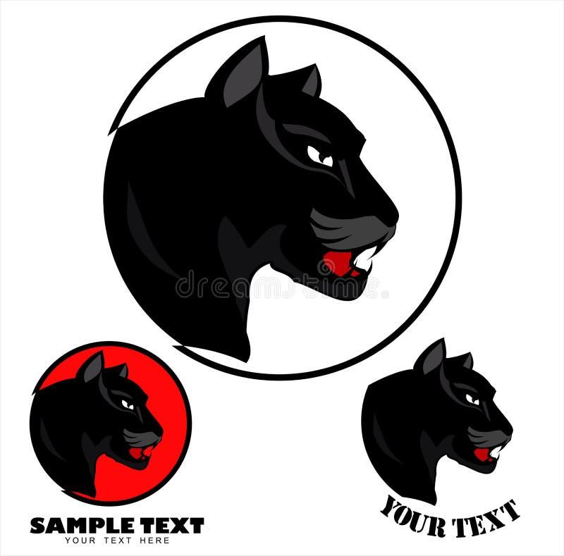 Boos zwart panterhoofd stock illustratie