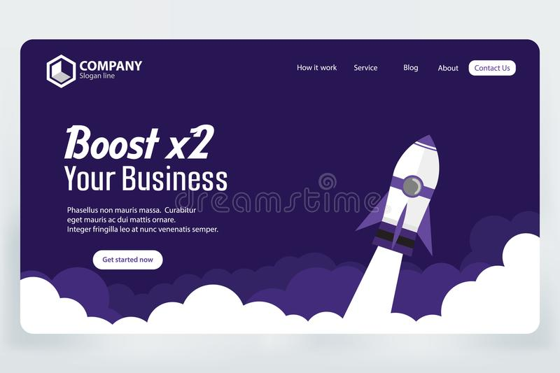 Boost Business Website Landing Page Vector Template Design Concept royalty free illustration