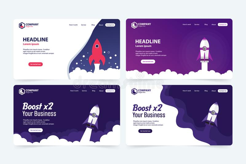 Boost Business Website Landing Page Vector Template Design Concept. Illustration stock illustration