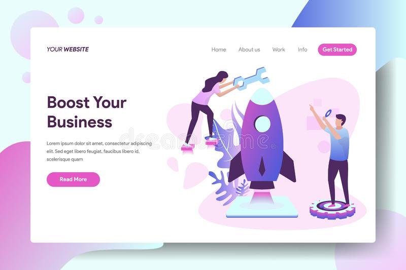 Boost Your Business. Landing page Boost Your Business vector illustration concept, a woman who fixes rockets using keys, can be used for, landing pages vector illustration