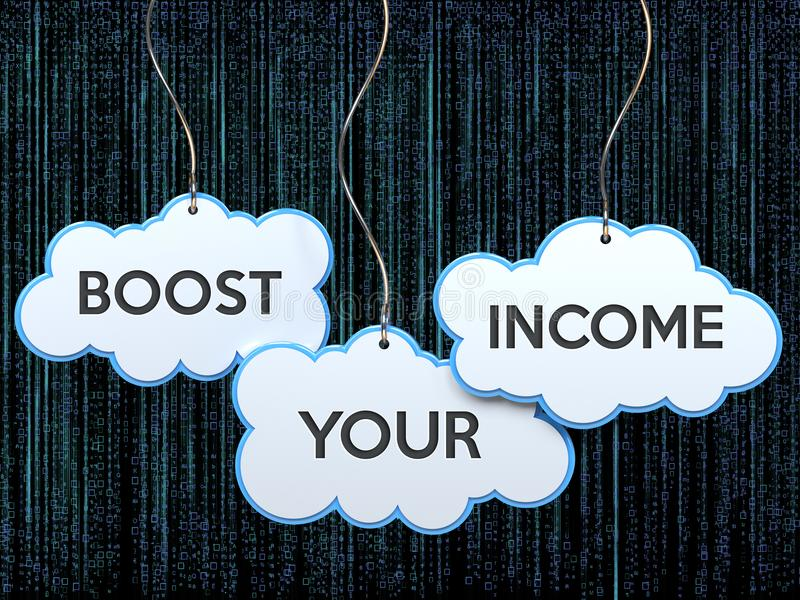 Boost your income on cloud banner stock illustration