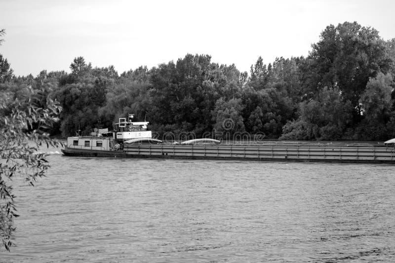 Boot auf dem Fluss mit Wald im Hintergrund lizenzfreies stockbild